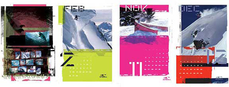 calendar graphics and design for europe o'neill board sports brand surfing snowboarding wake advertising ad agency BXC of Orange County