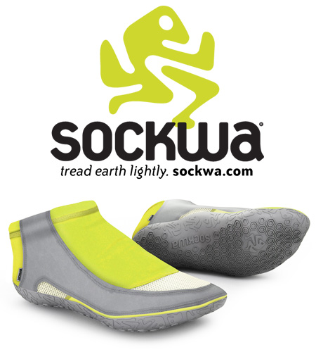 Sockwa of Ventura ready for summer shoes for the outdoor or indoor lifestyle new yoga shoe, hiking, running tread lightly, fun and almost bare footed logo design by BXC of Orange County California